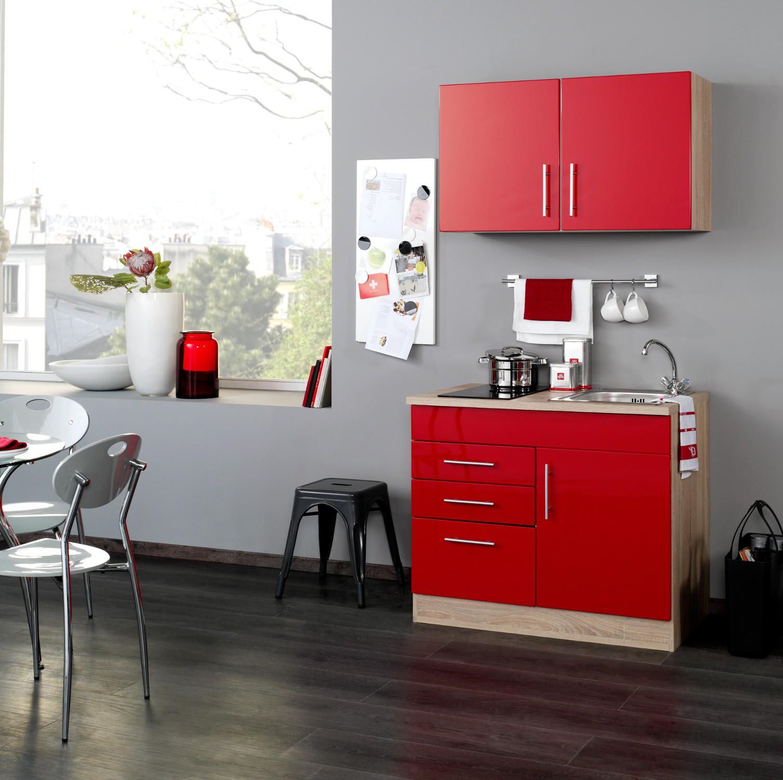 neu singlek che berlin mit glaskeramikkochfeld minik che 100cm rot sonoma ebay. Black Bedroom Furniture Sets. Home Design Ideas