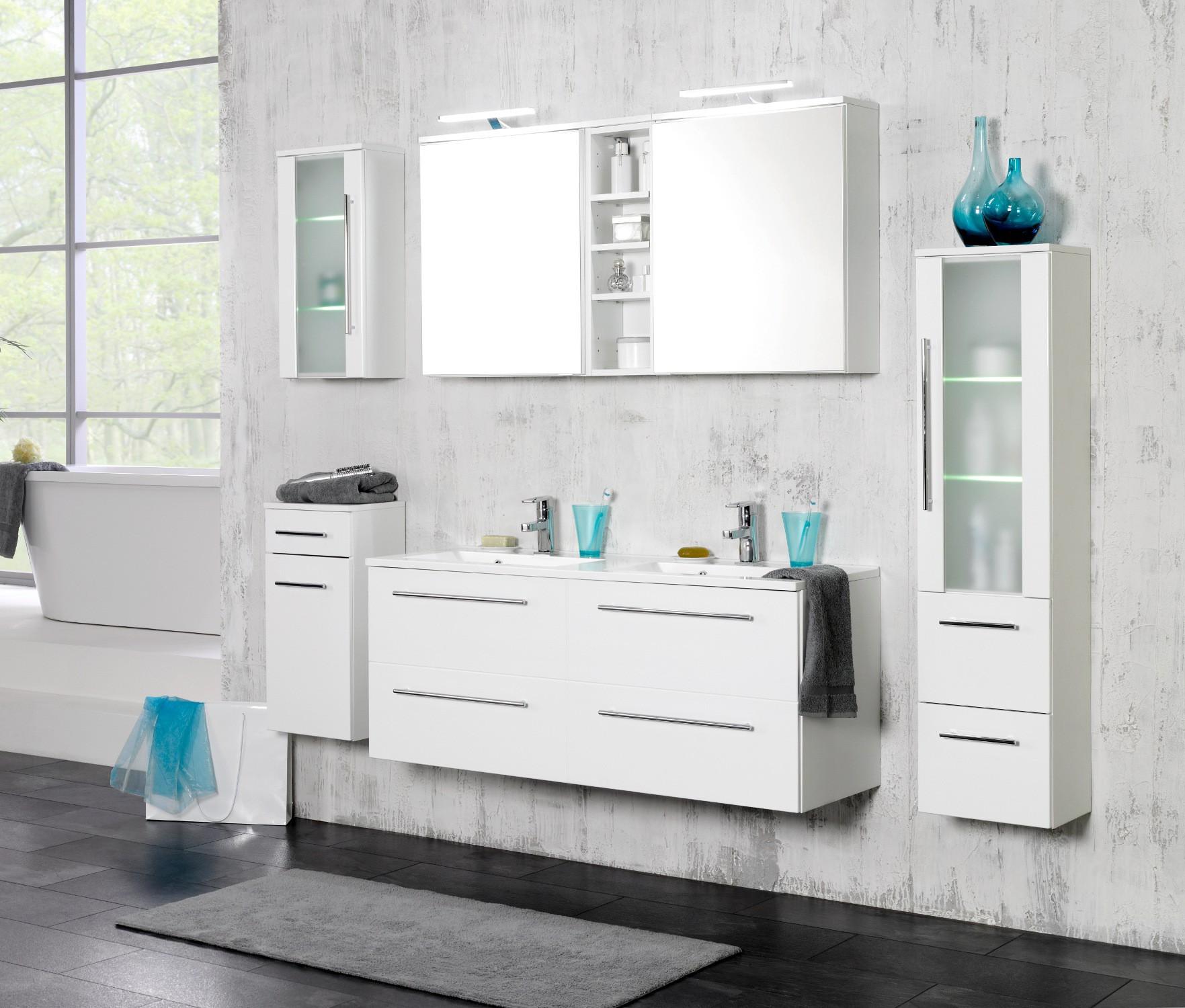 neu badezimmer badm belset mailand 7 teiliges doppel waschtisch badset weiss ebay