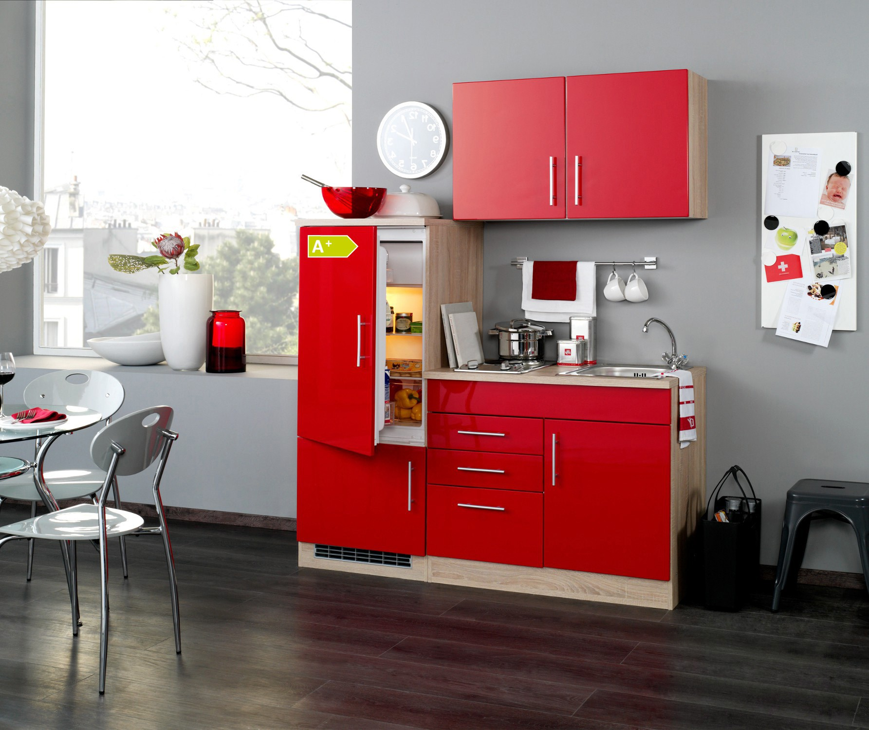 neu singlek che berlin mit k hlschrank minik che b rok che 160cm rot sonoma. Black Bedroom Furniture Sets. Home Design Ideas