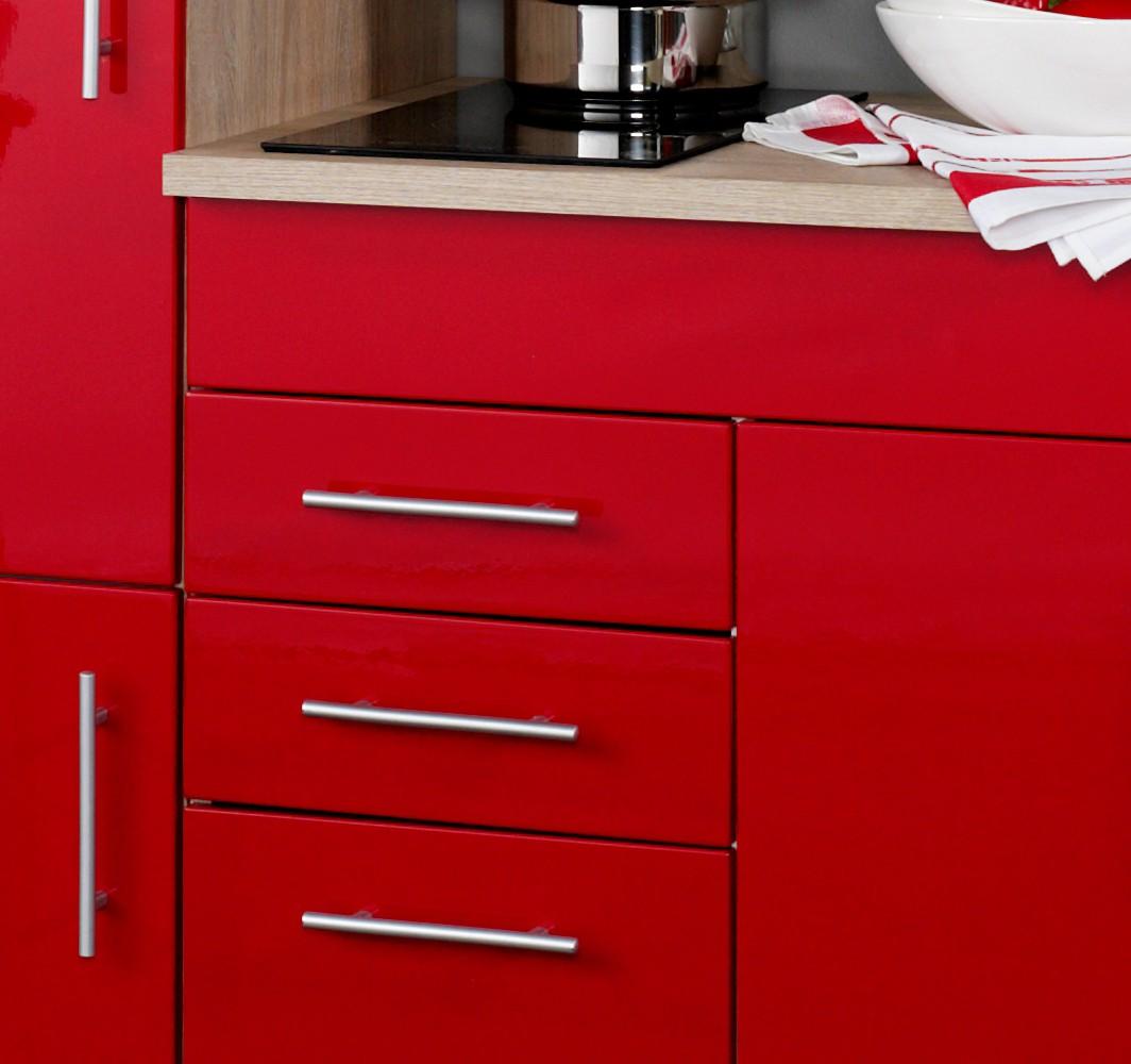 neu singlek che berlin mit k hlschrank und glaskeramikkochfeld 180cm rot sonoma ebay. Black Bedroom Furniture Sets. Home Design Ideas