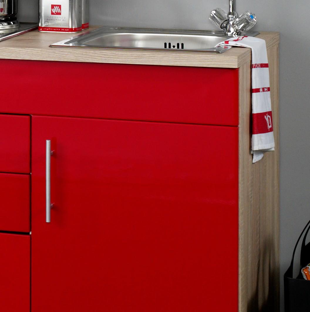 neu singlek che berlin mit k hlschrank minik che b rok che 190cm rot sonoma ebay. Black Bedroom Furniture Sets. Home Design Ideas