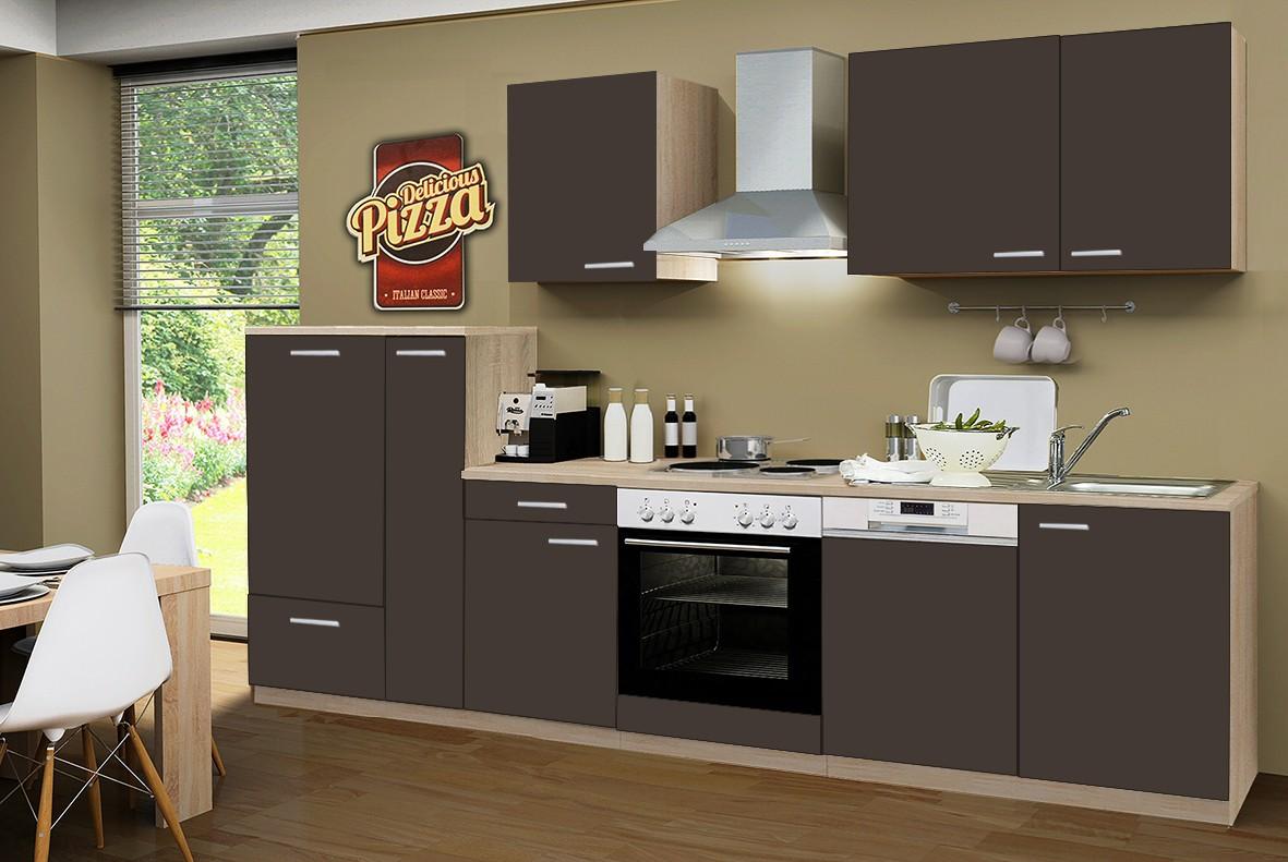 NEU Küchenzeile GÖTEBORG Küchenblock 310cm Braun Eiche