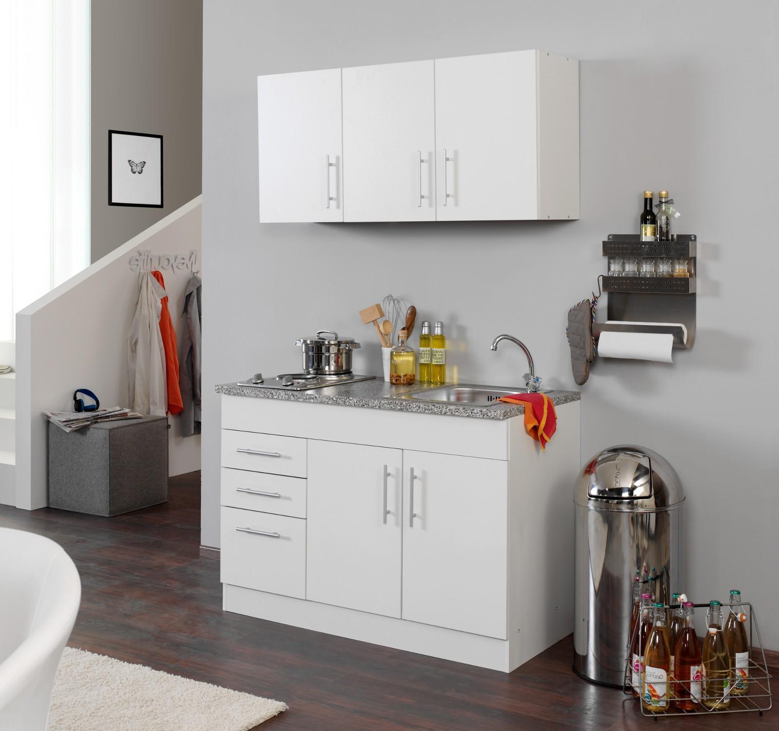 Singleküche  NEU! Singleküche BERLIN Miniküche 120cm Büroküche weiß
