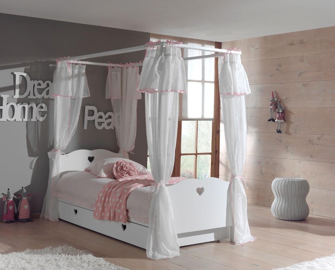 neu himmelbett amori m dchenbett 90x200 mit bett vorhang und bettschublade weiss. Black Bedroom Furniture Sets. Home Design Ideas