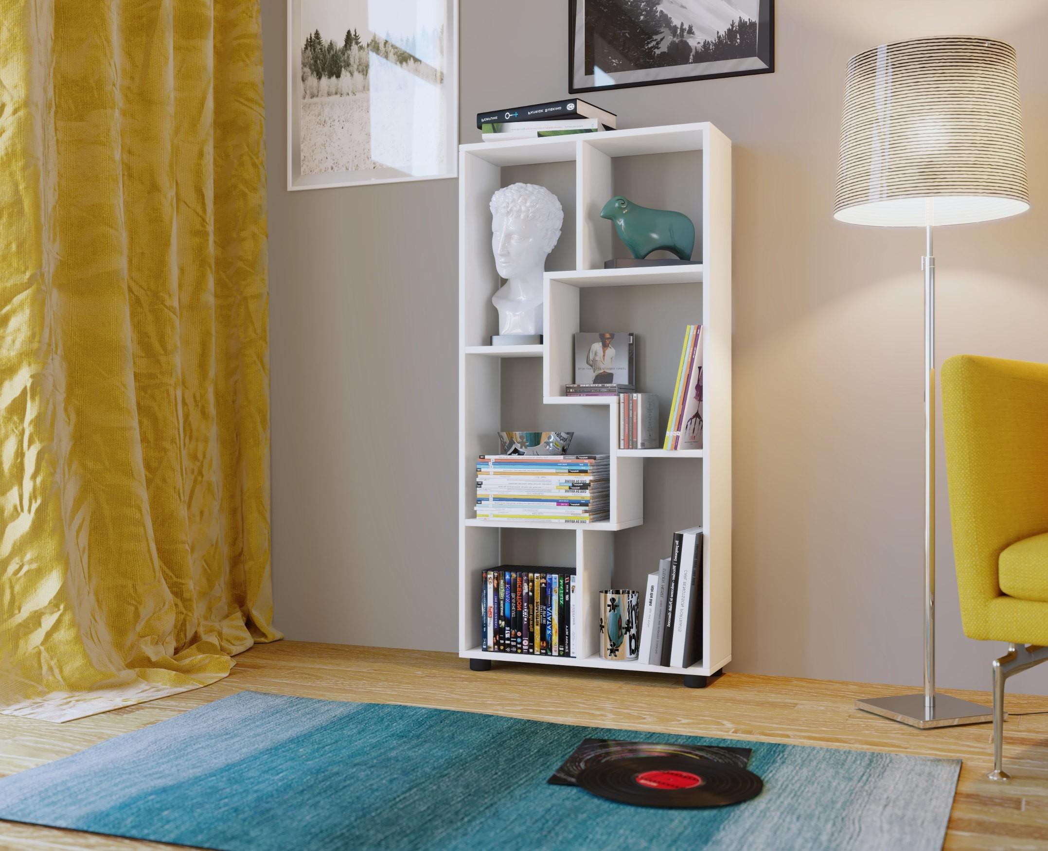 regal pisa designregal b cherregal wandregal modernes design 6 f cher weiss ebay. Black Bedroom Furniture Sets. Home Design Ideas