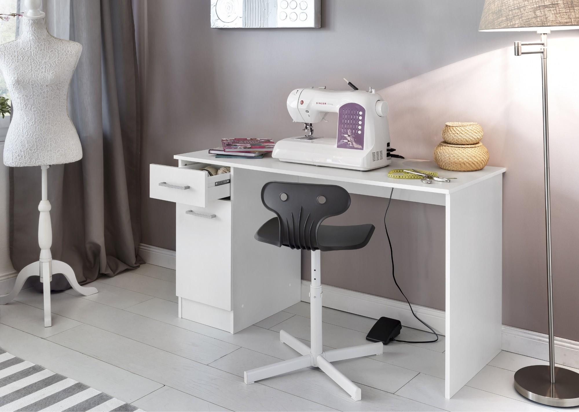 neu n hmaschinentisch lina 1 t r 1 schubladen 120 cm breit weiss ebay. Black Bedroom Furniture Sets. Home Design Ideas