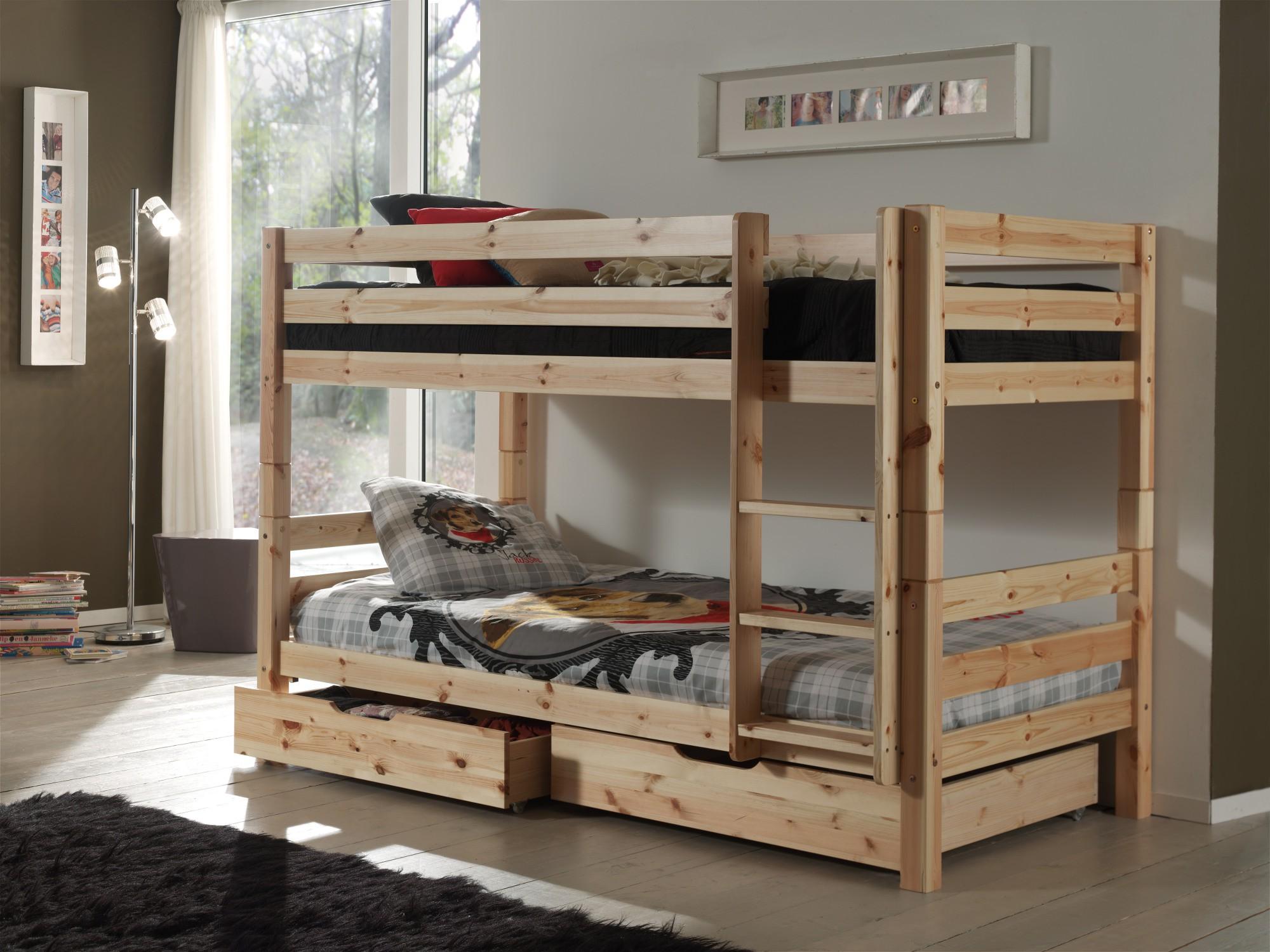 neu etagenbett pino doppelstockbett mit 2 bettschubladen 90 x 200 cm kiefer ebay. Black Bedroom Furniture Sets. Home Design Ideas