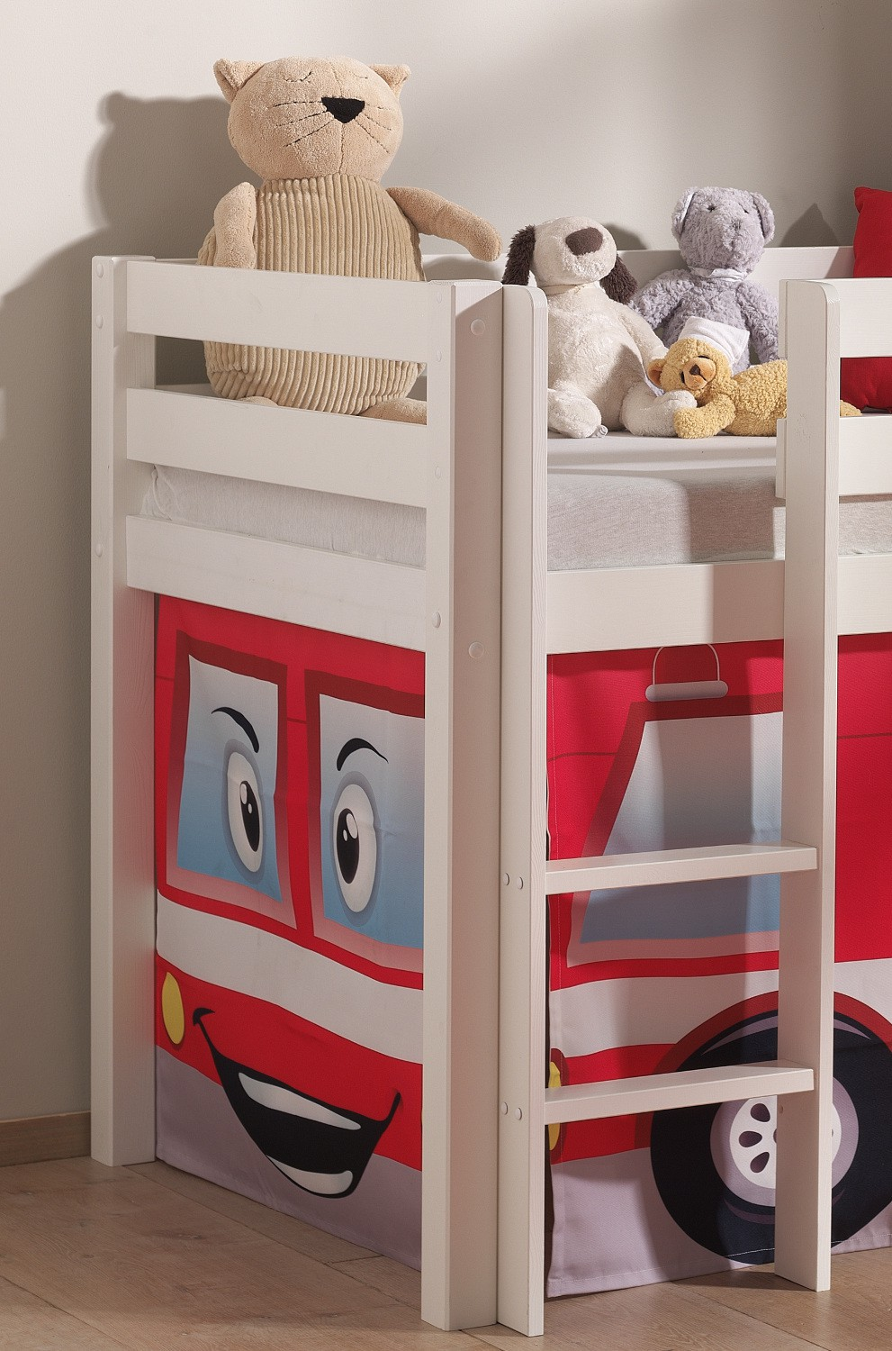 neu spielbett pino feuerwehr hochbett kinderbett rutsche 90x200cm kiefer weiss ebay. Black Bedroom Furniture Sets. Home Design Ideas
