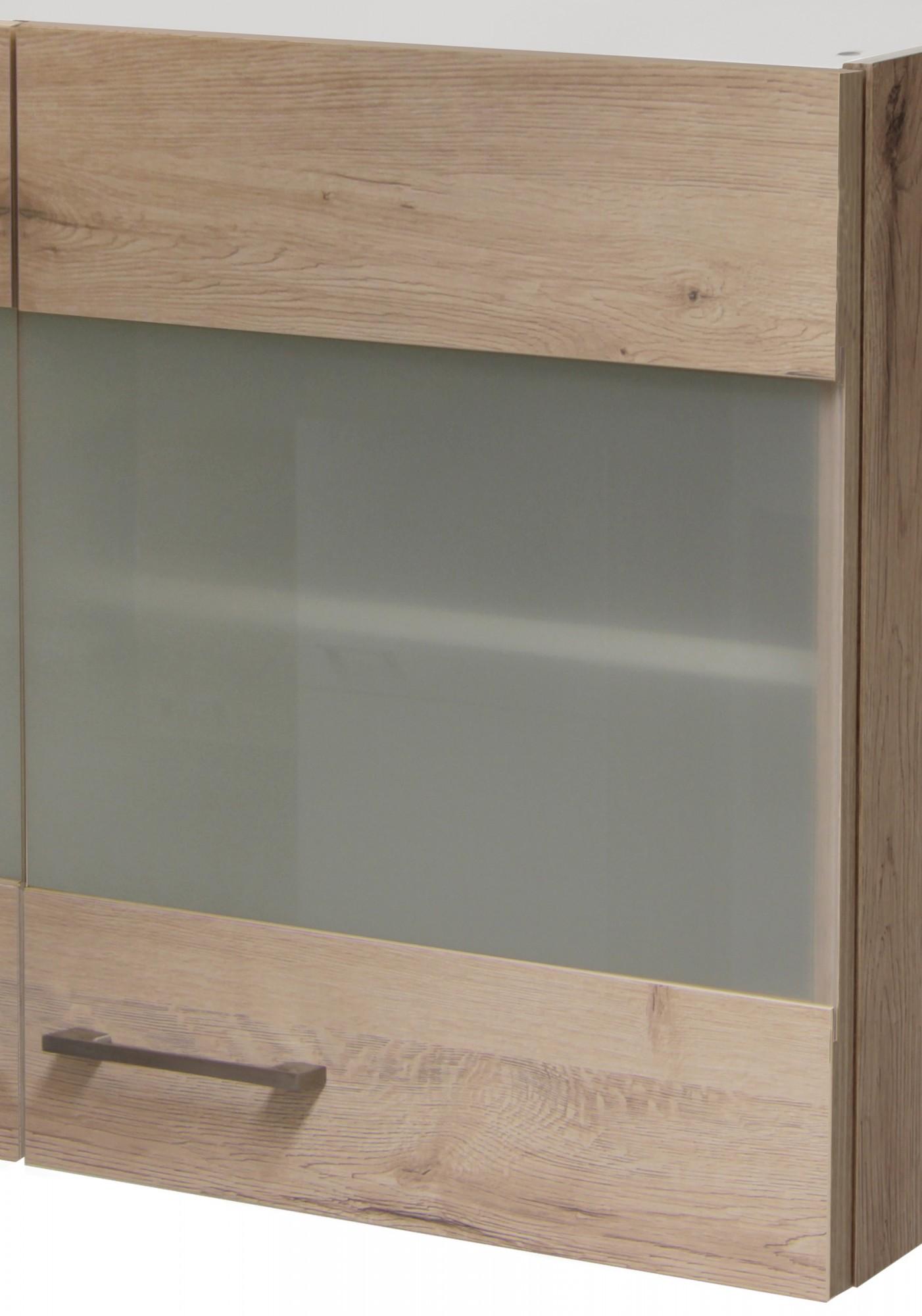 glas h ngeschrank riva oberschrank k chenschrank glas t ren 100cm eiche san remo ebay. Black Bedroom Furniture Sets. Home Design Ideas