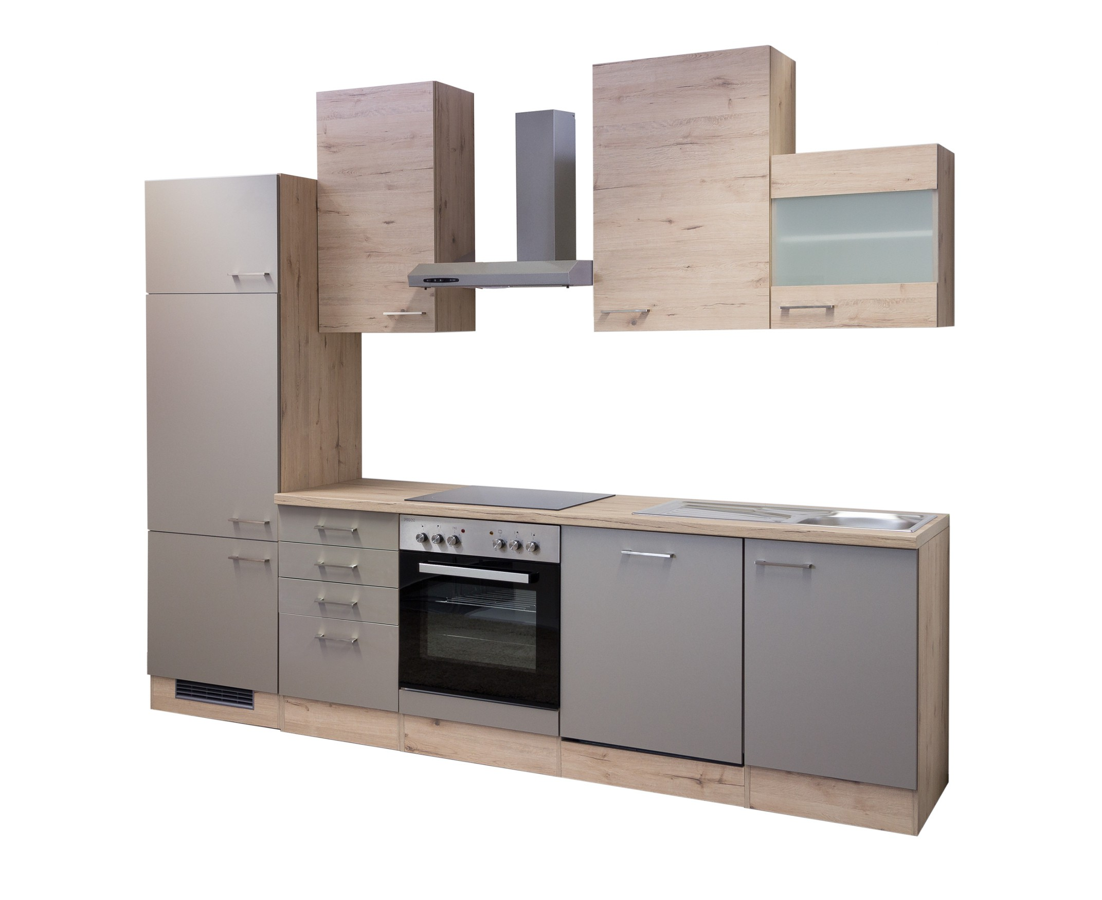 k che riva k chenzeile k chenblock mit elektroger ten 280 cm bronze metallic. Black Bedroom Furniture Sets. Home Design Ideas