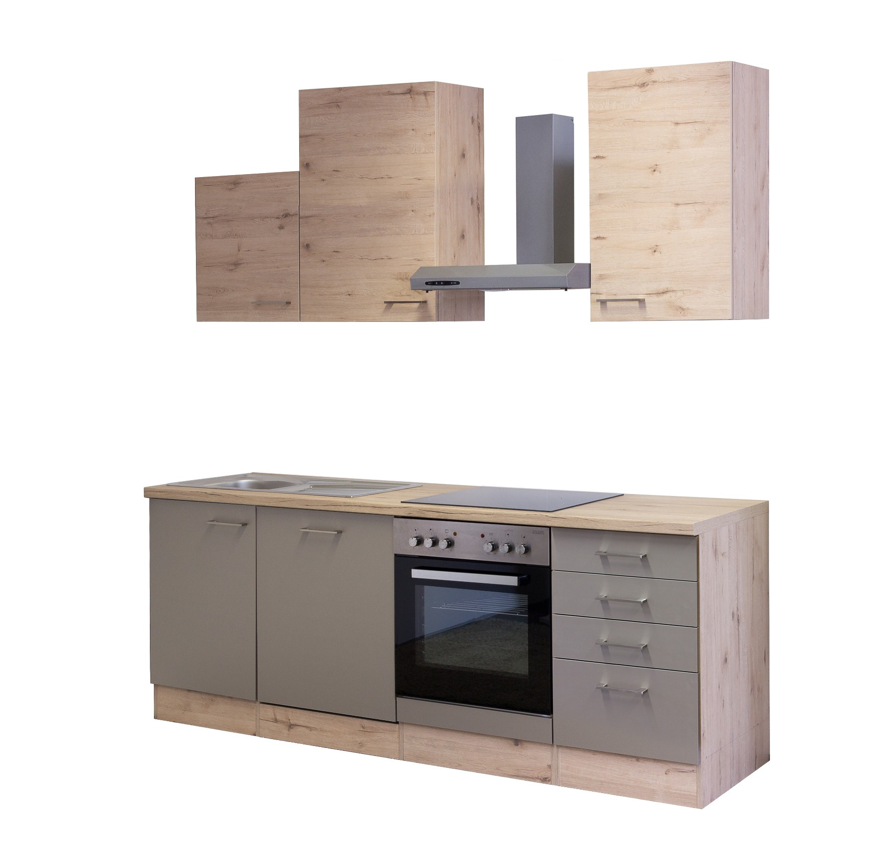 k chenzeile riva k chenblock mit elektroger ten 220 cm bronze metallic ebay. Black Bedroom Furniture Sets. Home Design Ideas