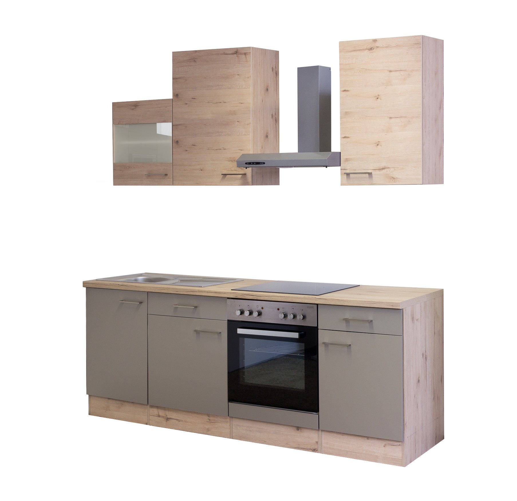 k chenblock riva k chenzeile mit e ger ten 220 cm bronze metallic ebay. Black Bedroom Furniture Sets. Home Design Ideas