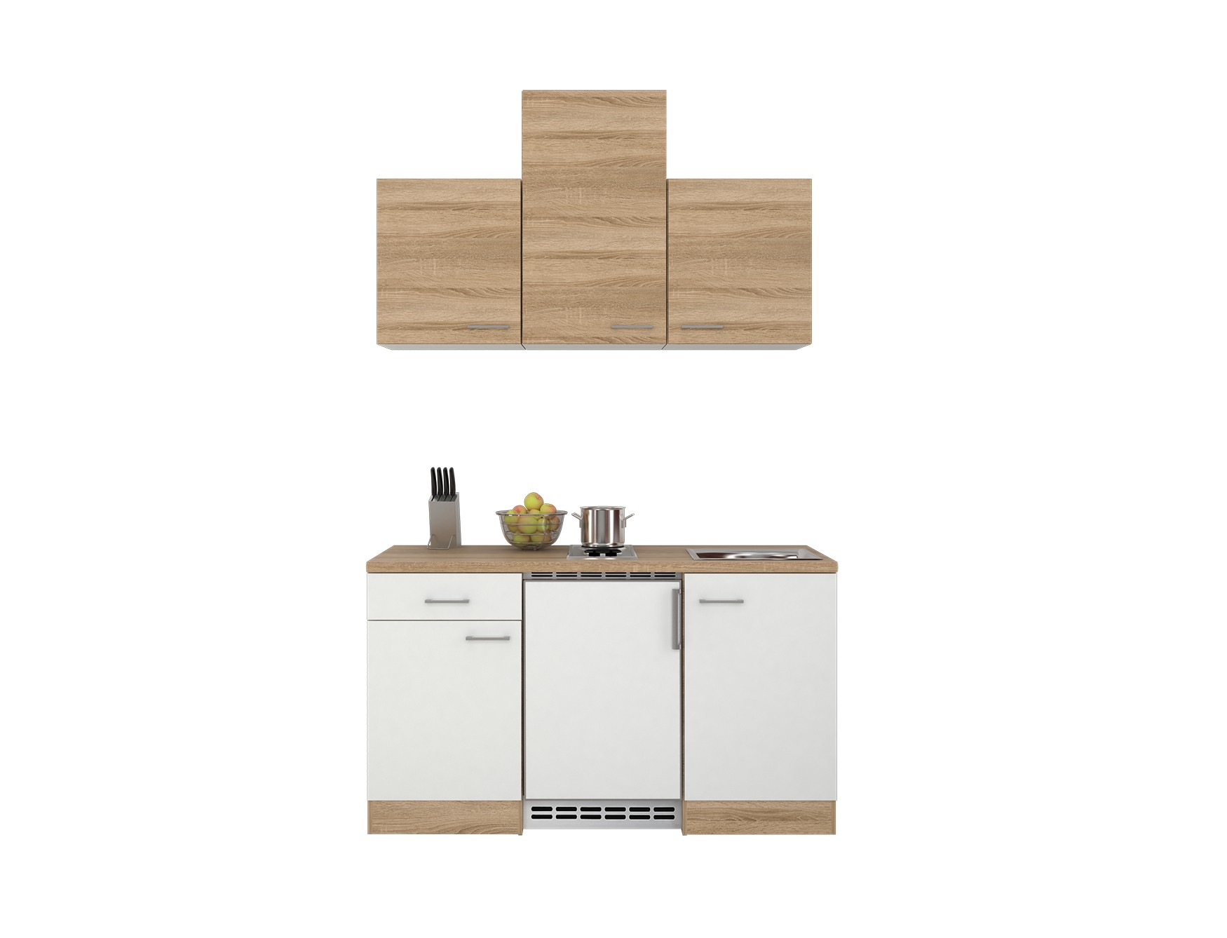 singlek che rom b rok che minik che mit k hlschrank und kochfeld 150 cm weiss ebay. Black Bedroom Furniture Sets. Home Design Ideas