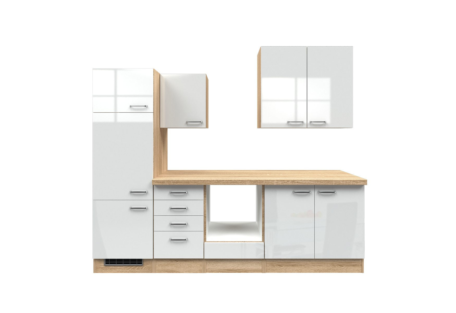 k chenblock venedig k chenzeile k chen leerblock mit auszugschrank 270 cm weiss. Black Bedroom Furniture Sets. Home Design Ideas