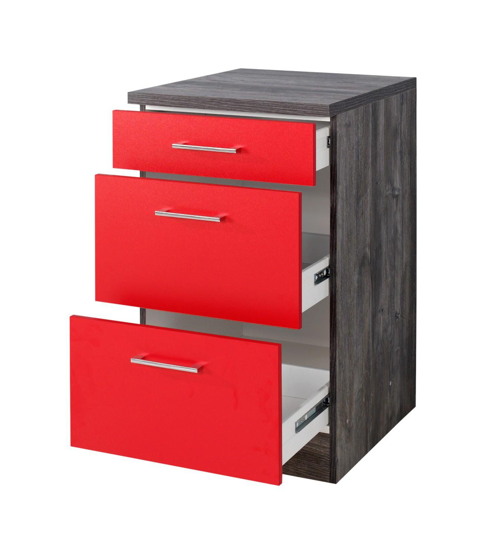 neu k chen unterschrank sevilla k chenschrank mit schubladen 50cm rot vintage ebay. Black Bedroom Furniture Sets. Home Design Ideas