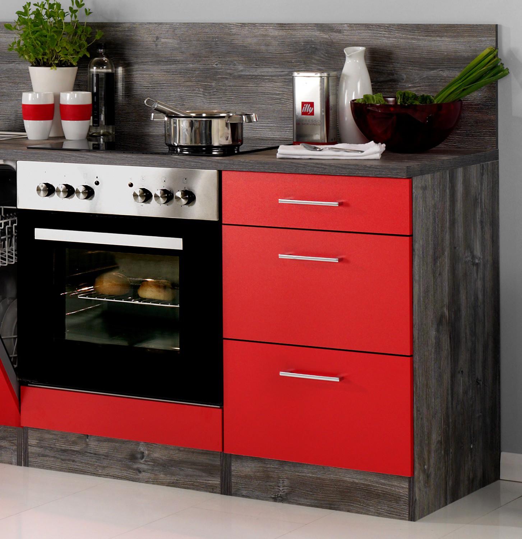 Neu kuchenzeile sevilla kuchenblock 220cm rot vintage for Küchenzeile tiefe