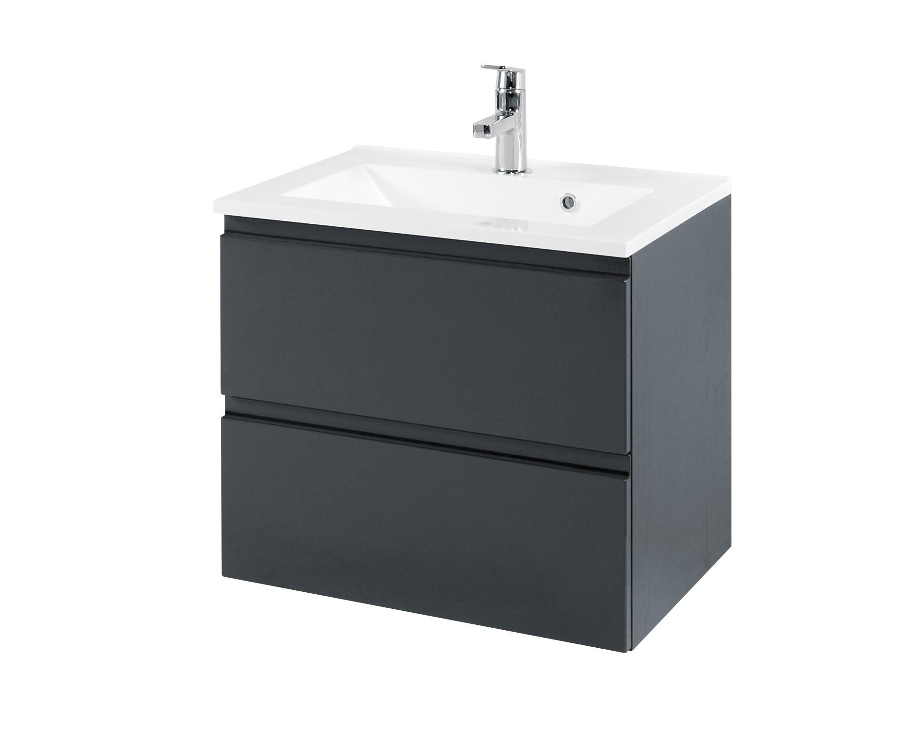 neu badezimmer waschtisch mit becken cardiff waschplatz 60 cm grau ebay. Black Bedroom Furniture Sets. Home Design Ideas