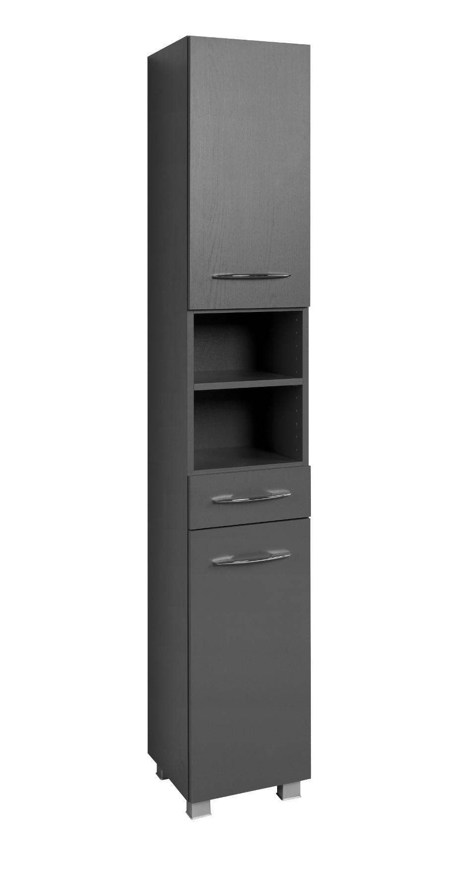 badezimmer hochschrank portofino seitenschrank badschrank 30 cm graphit grau ebay. Black Bedroom Furniture Sets. Home Design Ideas
