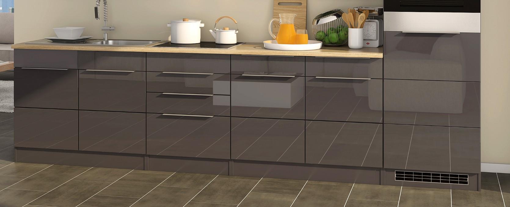 k chenzeile hamburg k chenblock mit elektro ger ten 320 cm grau ebay. Black Bedroom Furniture Sets. Home Design Ideas