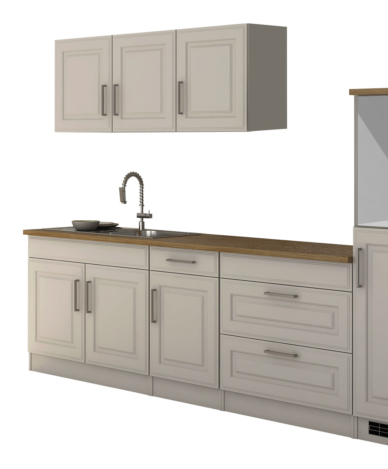 k chenzeile k ln k chen leerblock k chenblock 290 cm weiss ebay. Black Bedroom Furniture Sets. Home Design Ideas
