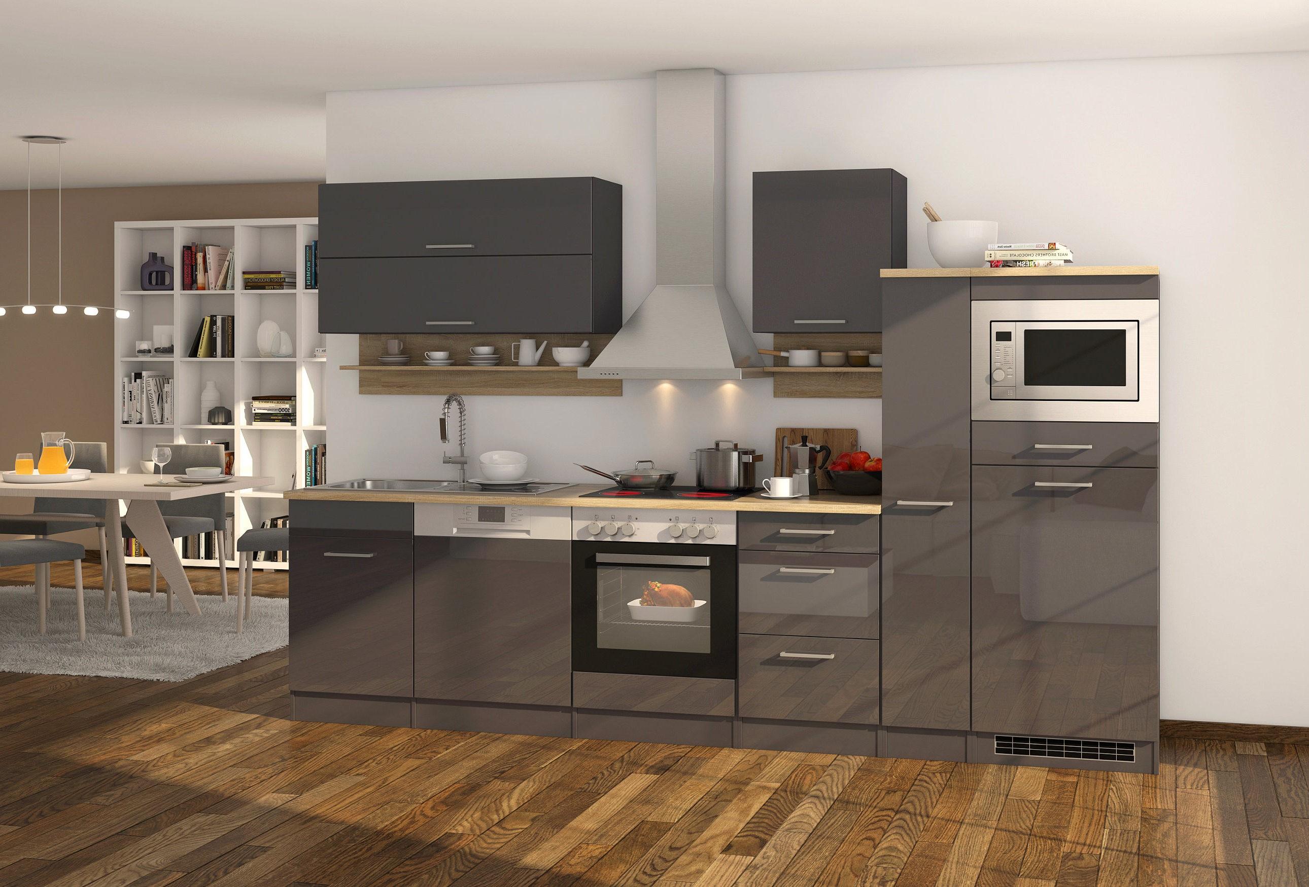 k chenzeile m nchen k chenblock mit e ger ten und einbaumikrowelle 310 cm grau. Black Bedroom Furniture Sets. Home Design Ideas