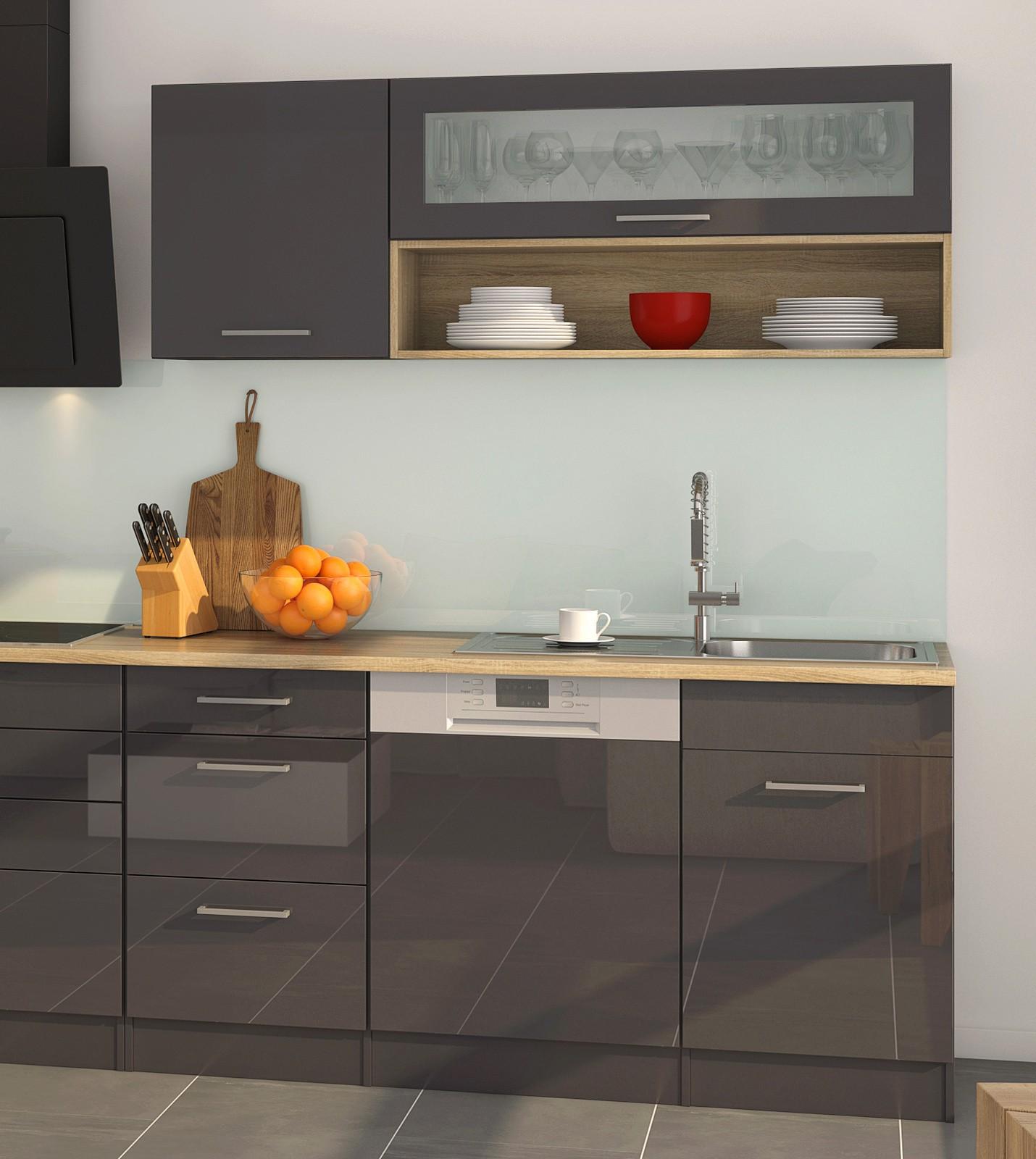 k chenzeile m nchen k chenblock mit e ger ten 330 cm grau graphit. Black Bedroom Furniture Sets. Home Design Ideas
