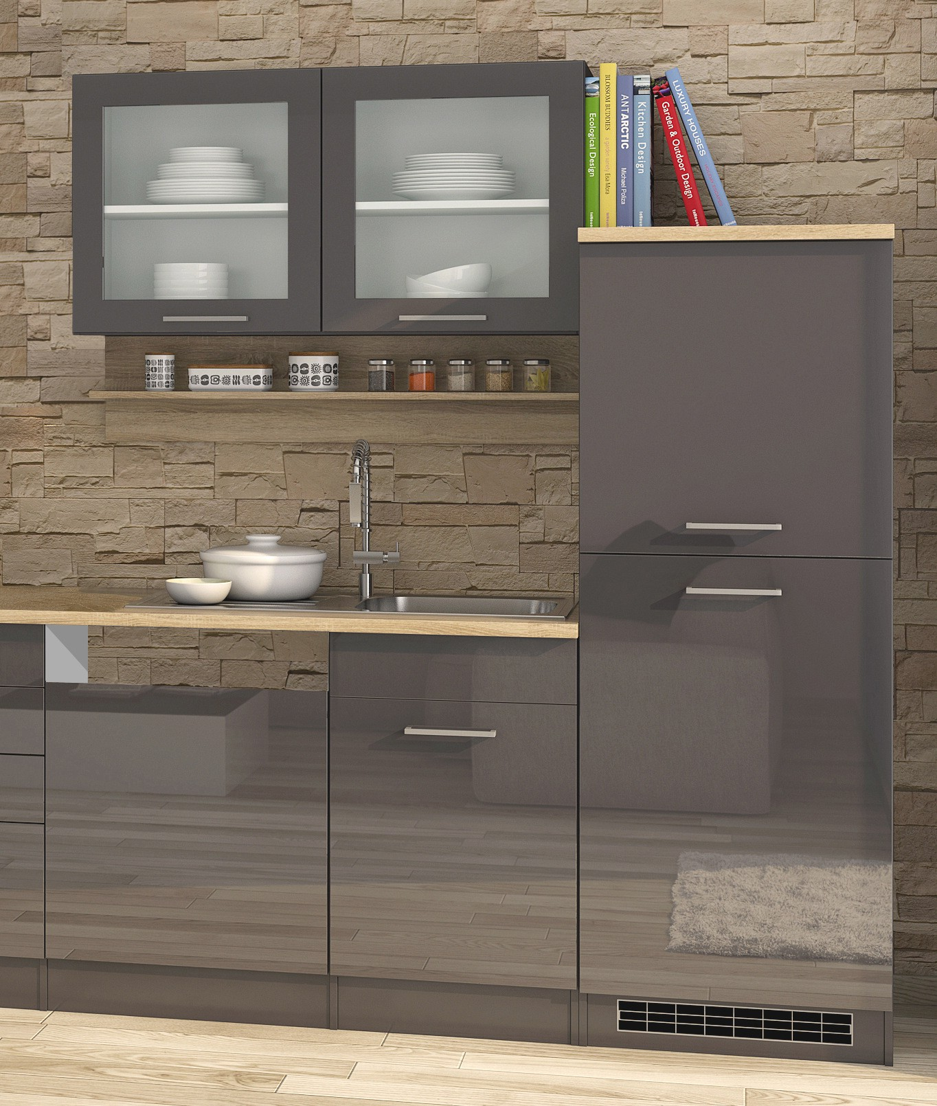 k chenzeile m nchen k chenblock k chen leerblock 340 cm grau. Black Bedroom Furniture Sets. Home Design Ideas