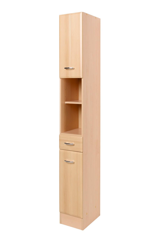 neu badezimmer hochschrank arta seitenschrank 2 t ren 1 schublade 25 cm buche ebay. Black Bedroom Furniture Sets. Home Design Ideas