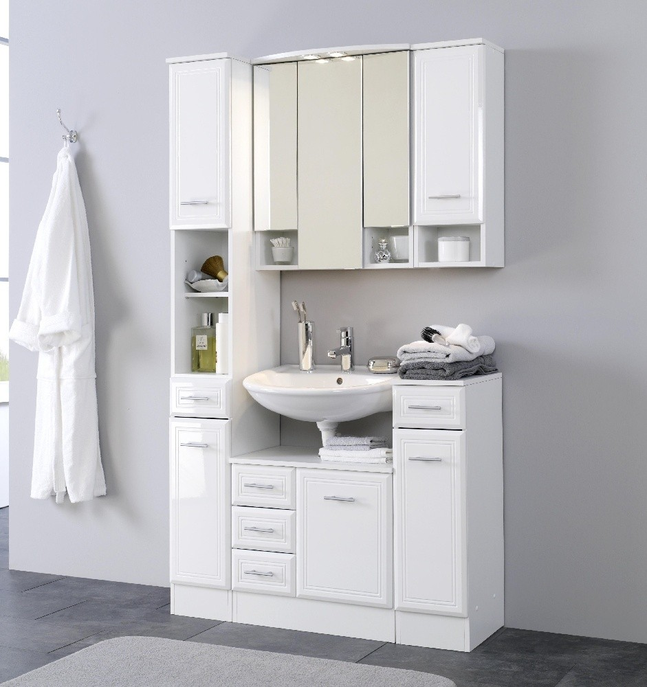 neu badezimmer hochschrank neapel seitenschrank 25 cm weiss ebay. Black Bedroom Furniture Sets. Home Design Ideas
