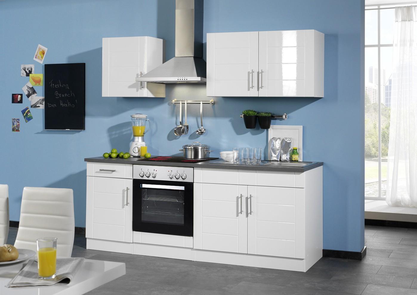 neu k chenzeile nevada k chenblock mit e ger ten 210 cm weiss ebay. Black Bedroom Furniture Sets. Home Design Ideas