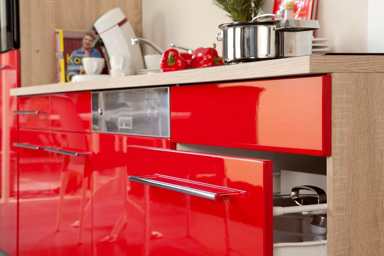 neu k chenzeile husum k chenblock mit e ger ten 280 cm rot ebay. Black Bedroom Furniture Sets. Home Design Ideas