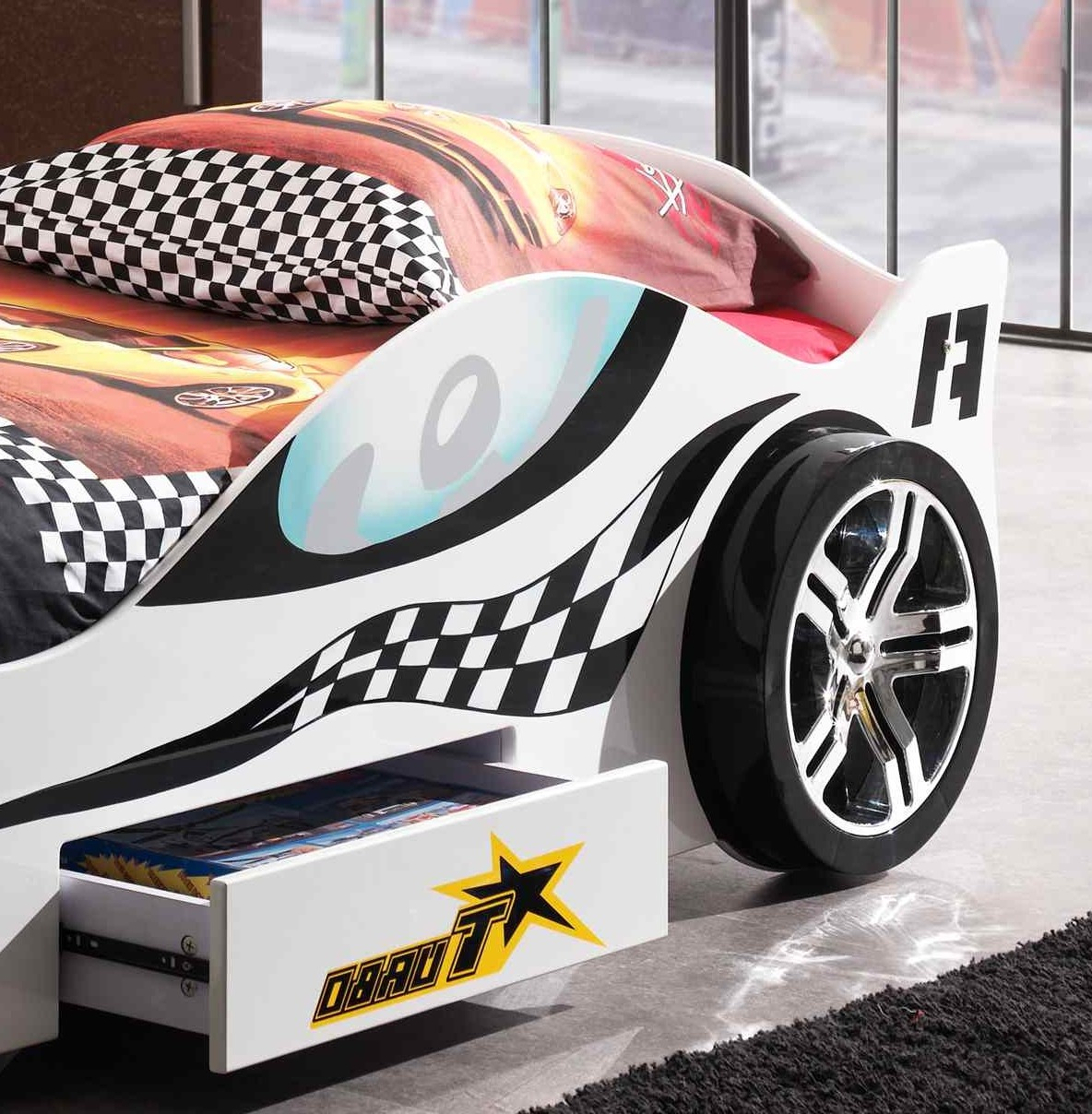 neu kinderbett turbo racing autobett rennautobett mit lattenrost 90 x 200 weiss ebay. Black Bedroom Furniture Sets. Home Design Ideas