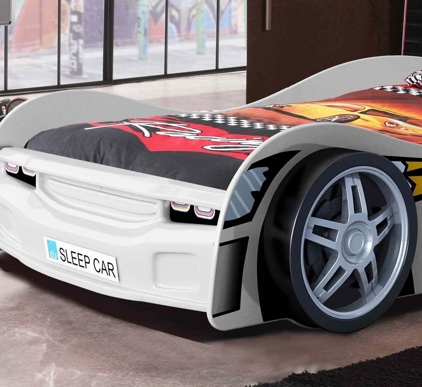 neu kinderbett night racer autobett rennautobett mit lattenrost 90 x 200 weiss ebay. Black Bedroom Furniture Sets. Home Design Ideas