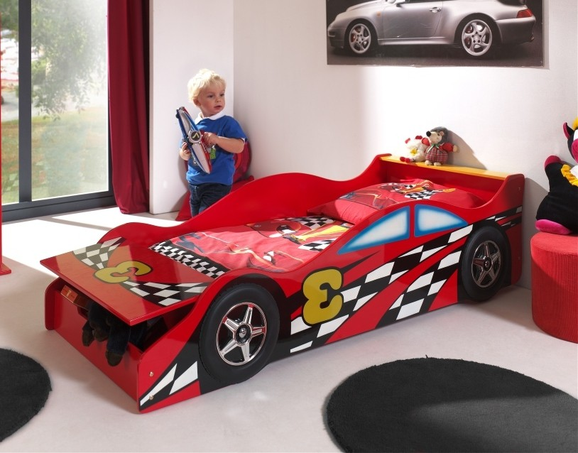 neu kinderbett race car autobett rennautobett mit lattenrost 70 x 140 rot. Black Bedroom Furniture Sets. Home Design Ideas