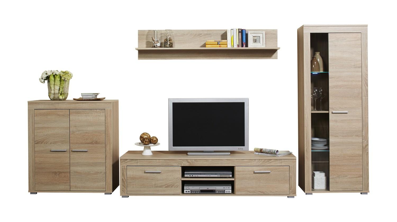neu wohnwand aosta 4 teilige schrankwand wohnzimmerschrank 300 cm sonoma ebay. Black Bedroom Furniture Sets. Home Design Ideas