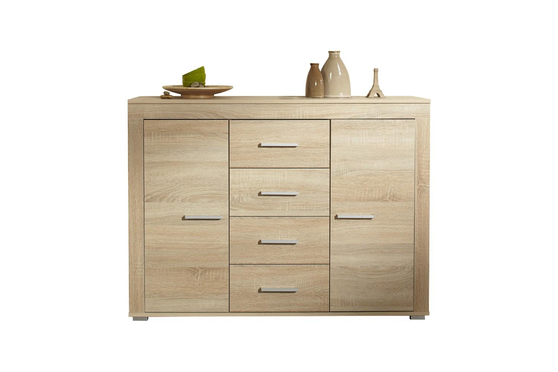 neu sideboard aosta kommode anrichte 120 cm mit t ren und schubk sten sonoma ebay. Black Bedroom Furniture Sets. Home Design Ideas