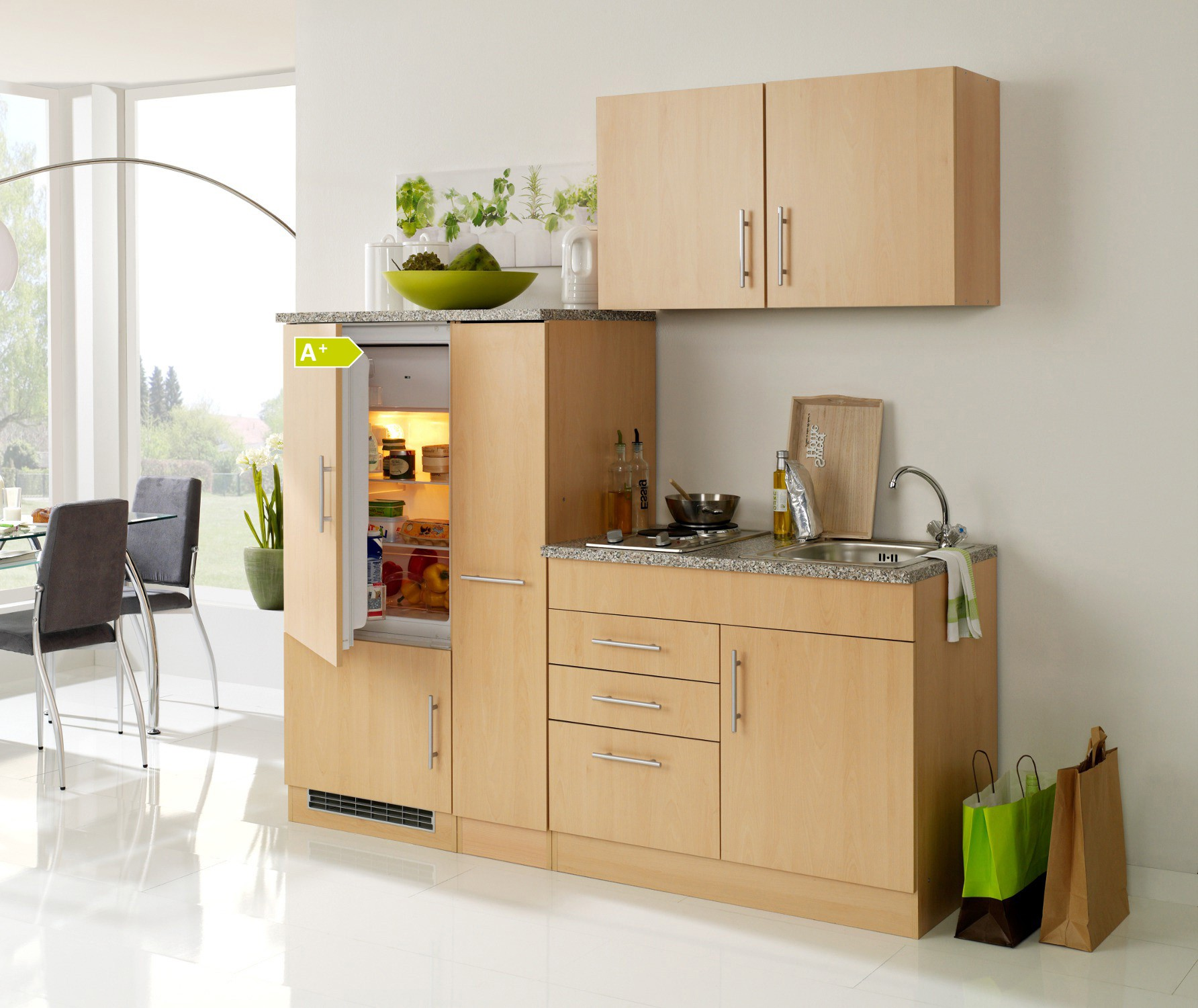 singlek che berlin mit k hlschrank breite 190 cm. Black Bedroom Furniture Sets. Home Design Ideas
