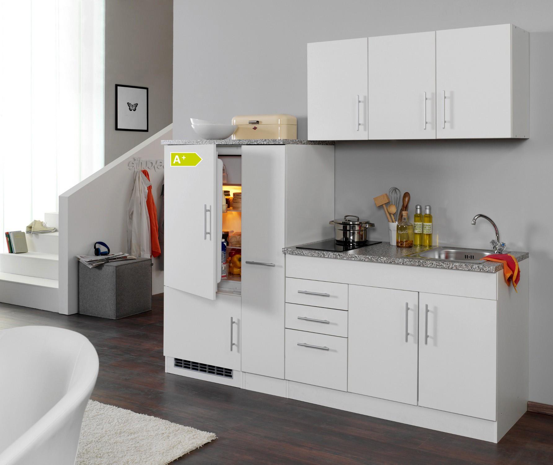 singlek che berlin glaskeramik kochfeld und k hlschrank breite 210 cm wei k che singlek chen. Black Bedroom Furniture Sets. Home Design Ideas