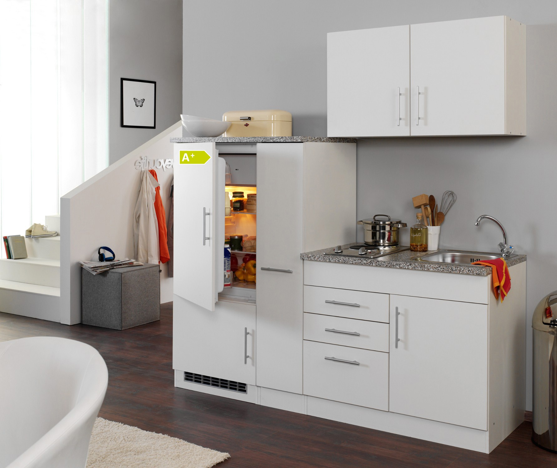singlek che berlin mit k hlschrank breite 190 cm wei k che singlek chen. Black Bedroom Furniture Sets. Home Design Ideas