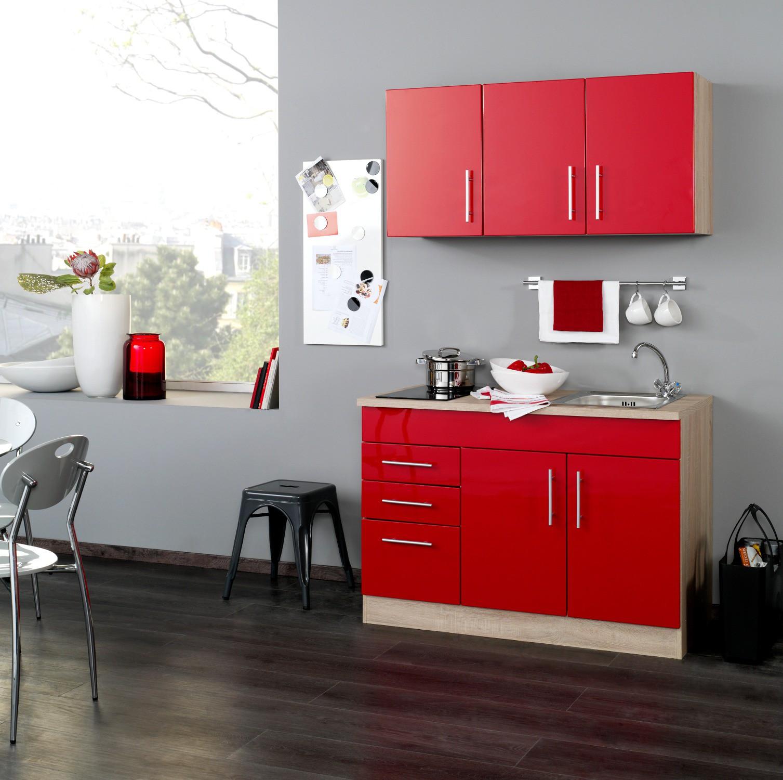singlek che berlin glaskeramik kochfeld breite 120 cm hochglanz rot eiche sonoma k che. Black Bedroom Furniture Sets. Home Design Ideas