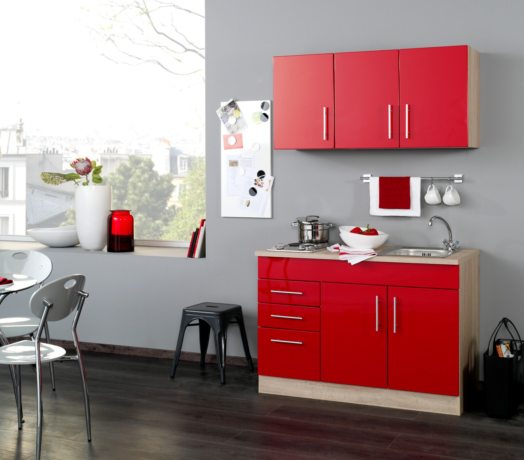 neu singlek che berlin minik che 120cm b rok che hochglanz rot sonoma ebay. Black Bedroom Furniture Sets. Home Design Ideas