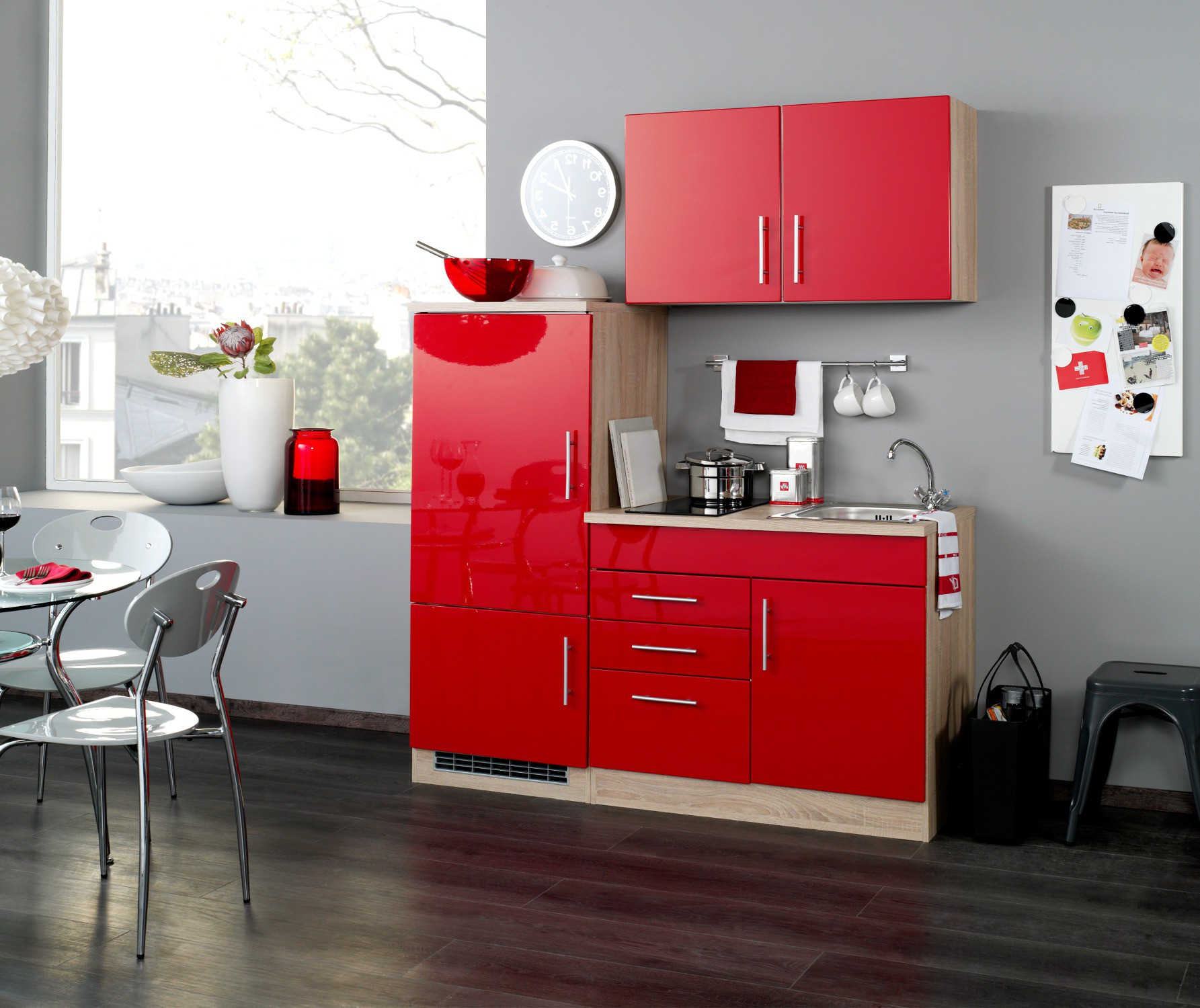 neu singlek che berlin mit glaskeramikkochfeld minik che 160cm rot sonoma ebay. Black Bedroom Furniture Sets. Home Design Ideas
