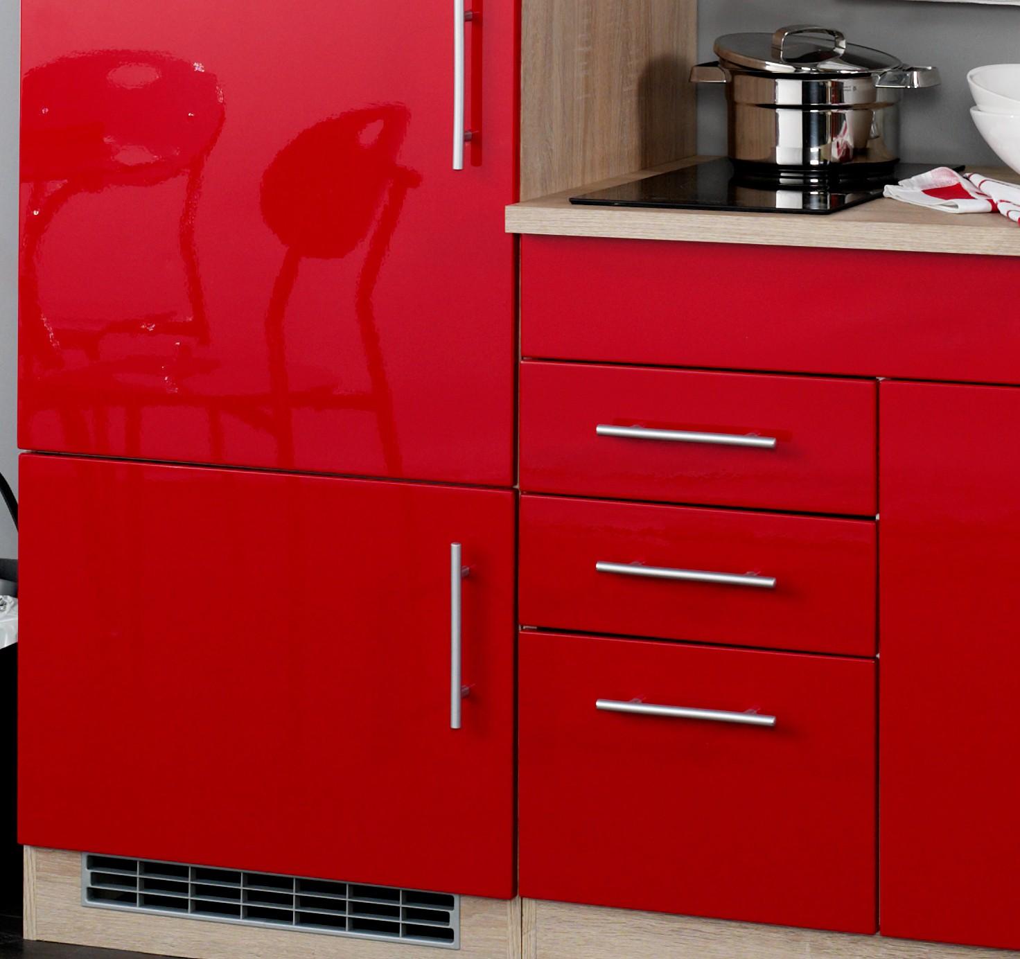 neu singlek che berlin mit glaskeramikkochfeld minik che 180cm rot sonoma ebay. Black Bedroom Furniture Sets. Home Design Ideas