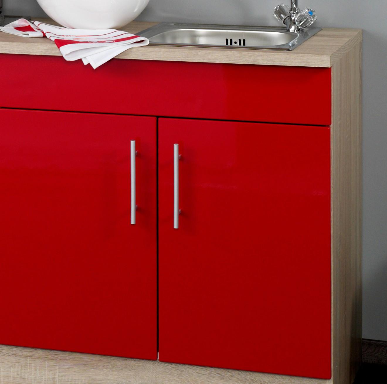 singlek che berlin breite 180 cm hochglanz rot eiche sonoma k che singlek chen. Black Bedroom Furniture Sets. Home Design Ideas
