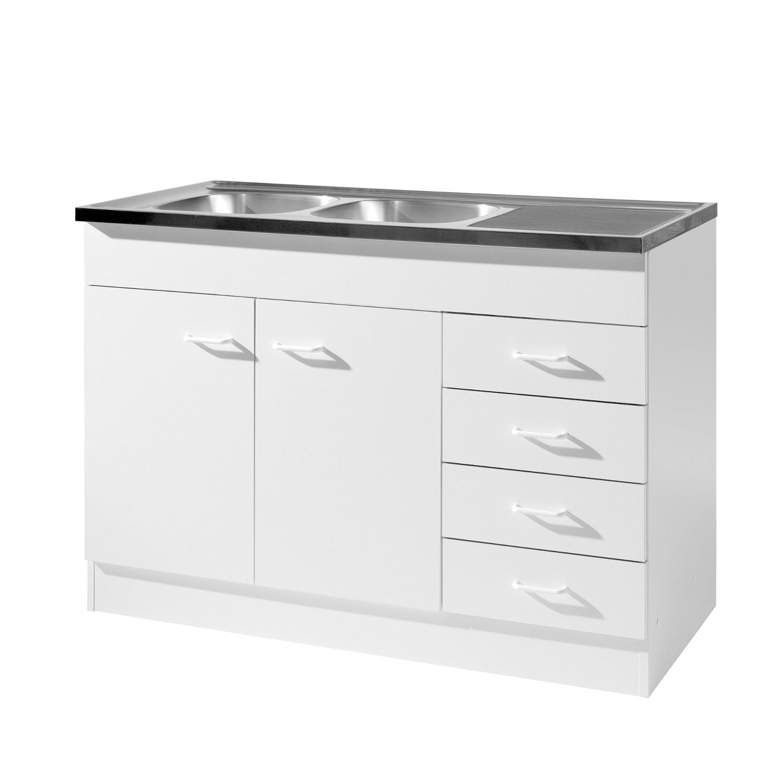 küchen-spülenschrank mit siphon - 2-türig, 4 schubladen - breite