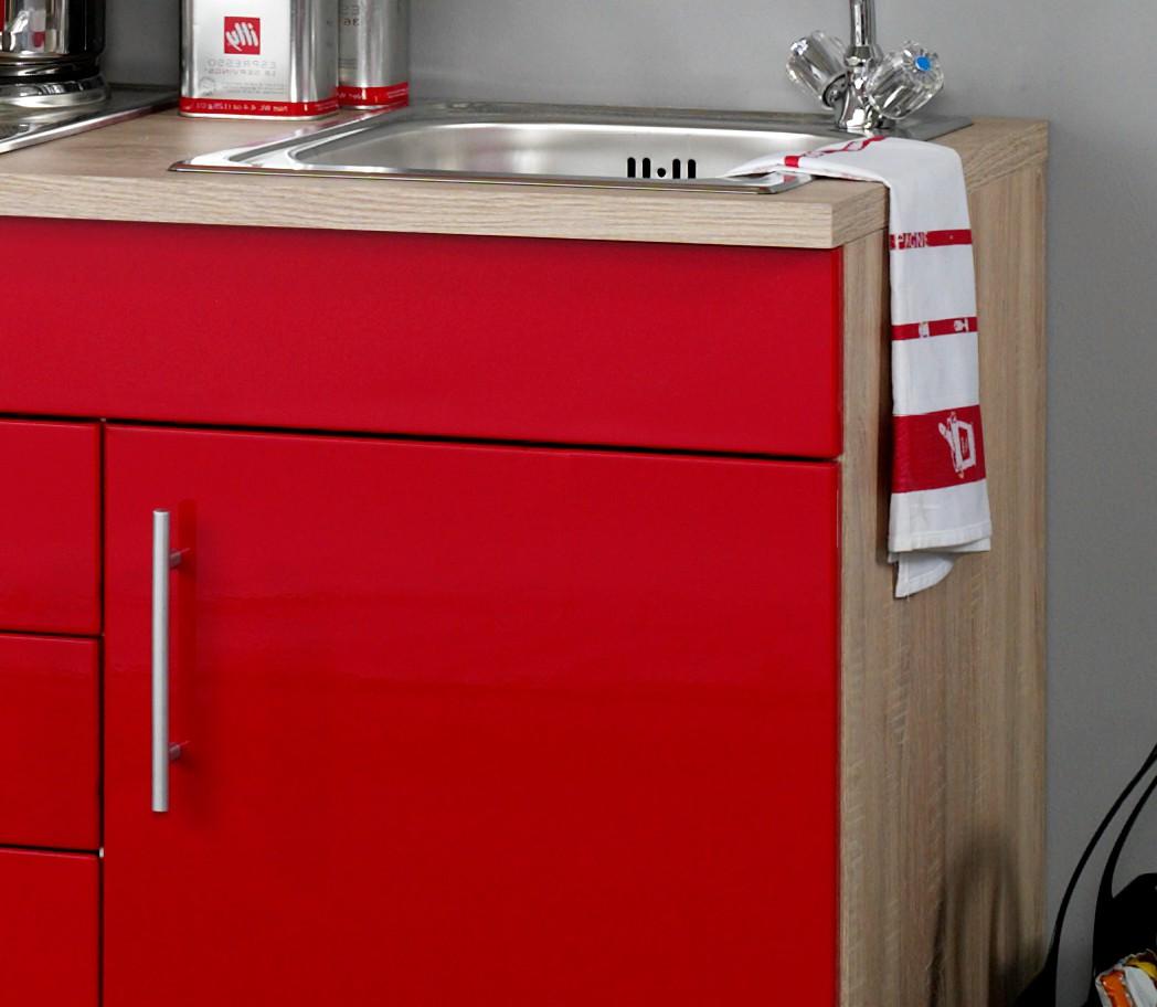 singlek che berlin mit k hlschrank breite 160 cm hochglanz rot eiche k che singlek chen. Black Bedroom Furniture Sets. Home Design Ideas