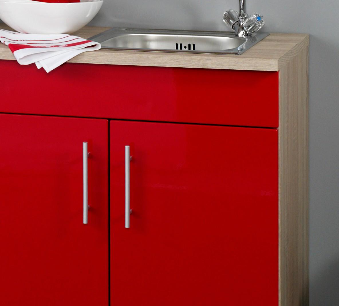 neu singlek che berlin mit k hlschrank minik che b rok che 180cm rot sonoma ebay. Black Bedroom Furniture Sets. Home Design Ideas
