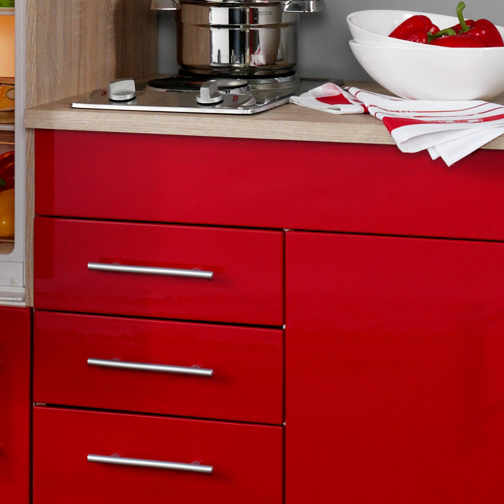 singlek che berlin mit k hlschrank breite 180 cm hochglanz rot eiche k che singlek chen. Black Bedroom Furniture Sets. Home Design Ideas