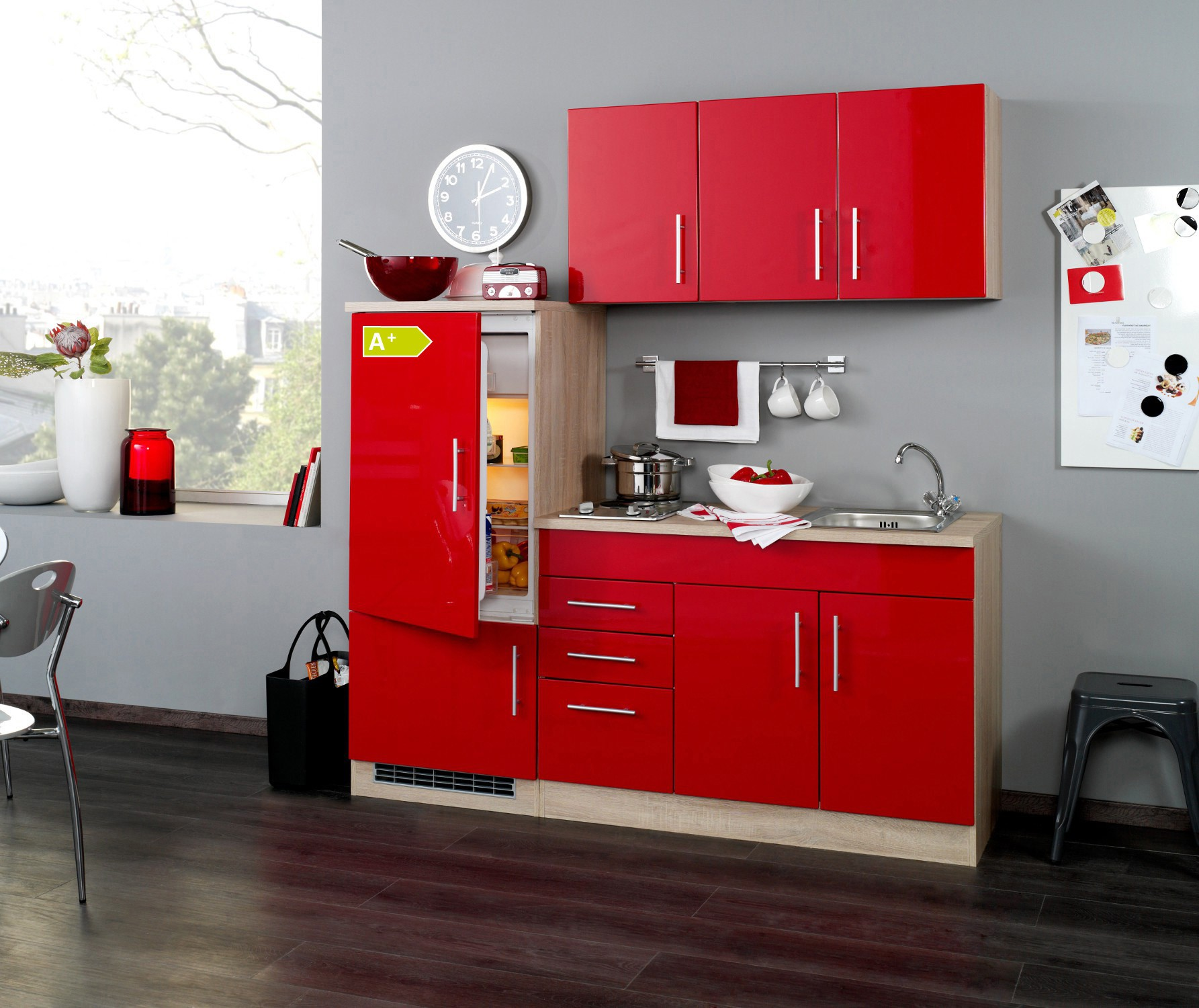 neu singlek che berlin mit k hlschrank minik che b rok che 180cm rot sonoma ebay. Black Bedroom Furniture Sets. Home Design Ideas