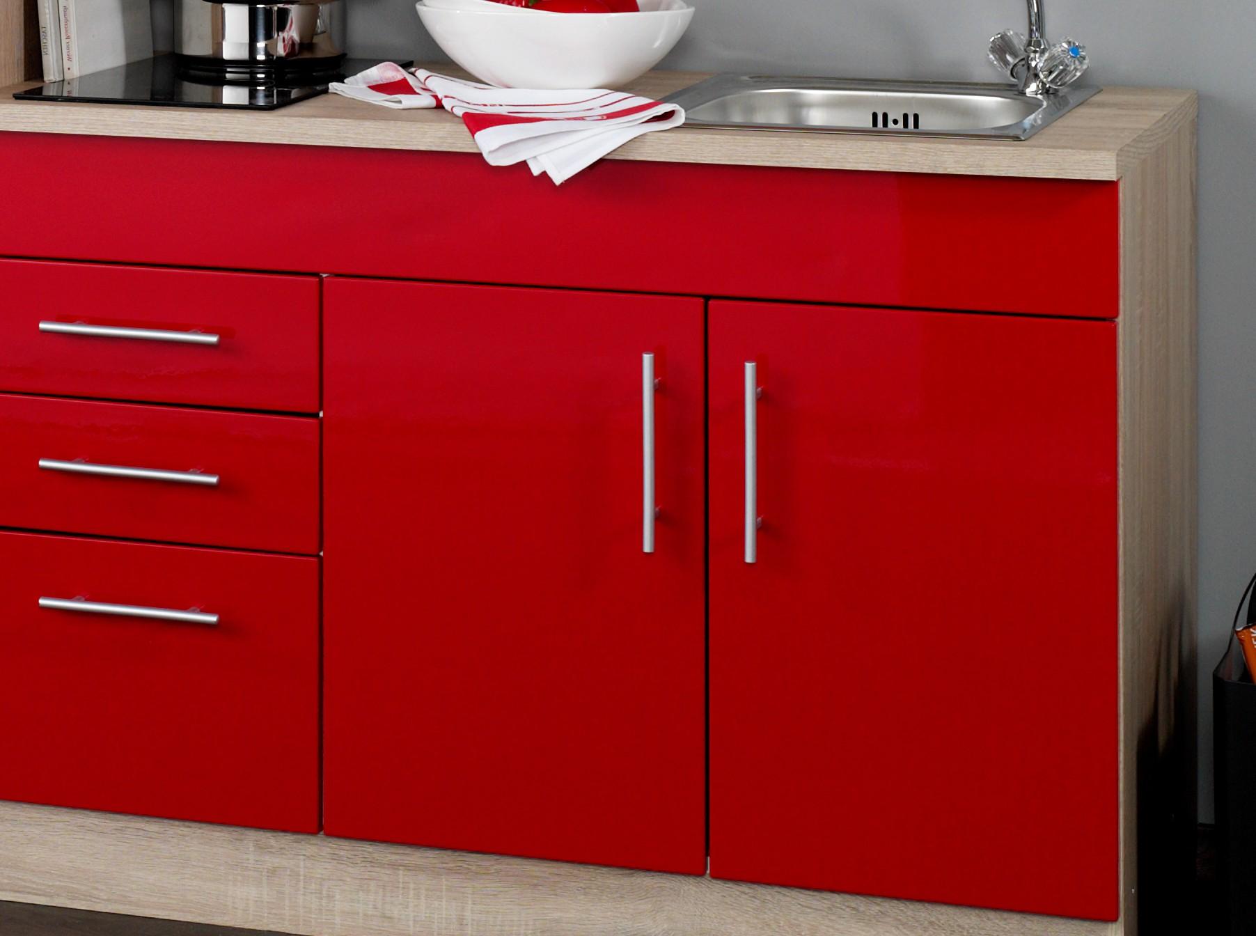 singlek che berlin glaskeramik kochfeld und k hlschrank breite 210 cm hochglanz rot. Black Bedroom Furniture Sets. Home Design Ideas